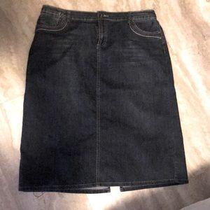 Avenue Denim-Denim blue skirt mid calf length.
